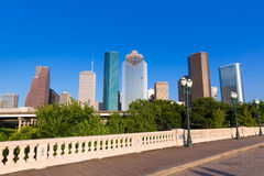 Houston skyline from Sabine St bridge Texas US Royalty Free Stock Photos