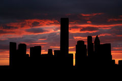 Houston-Skyline am Sonnenuntergang stock abbildung