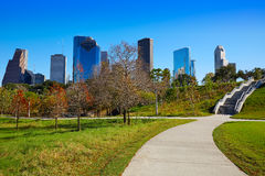 Houston skyline in sunny day from park grass. Of Texas USA Royalty Free Stock Images