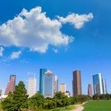 Houston skyline sunny day park Texas USA Stock Photos