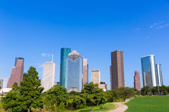Houston skyline sunny day park Texas USA Royalty Free Stock Photo
