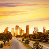 Houston skyline sunset from Allen Pkwy Texas US. Houston skyline at sunset from Allen Pkwy Texas USA US America Stock Image