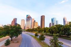 Houston skyline sunset from Allen Pkwy Texas US. Houston skyline at sunset from Allen Pkwy Texas USA US America royalty free stock photo
