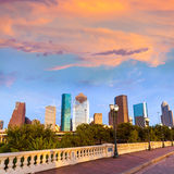 Houston skyline sunset Sabine St bridge Texas US. Houston skyline at sunset from Sabine St bridge Texas USA US America Royalty Free Stock Image