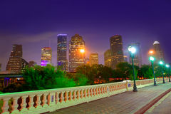 Houston skyline at sunset  Sabine St Texas USA. Houston skyline at sunset from Sabine St bridge Texas USA US America Stock Photos