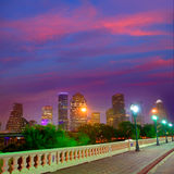 Houston skyline at sunset  Sabine St Texas USA Stock Images