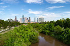 Houston Skyline. Houston Texas skyline taken from Memorial Drive just west of town. Photo includes a view of Buffalo Bayou, which runs through Houston, TX. This royalty free stock image
