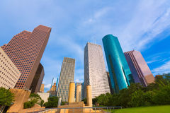 Houston skyline from Tranquility Park Texas US Stock Photo