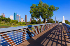 Houston-Skyline vom Gedenkpark bei Texas US lizenzfreies stockbild