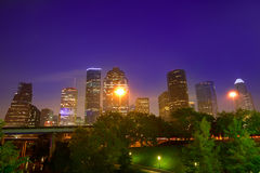 Houston skyline west view sunset Texas US. Houston skyline at sunset west downtown Texas USA US America Stock Photo