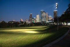 Houston-Skylineblaustunde Lizenzfreie Stockbilder