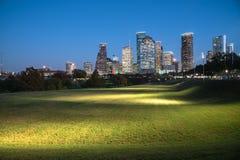 Houston-Skylineblaustunde Stockfotos