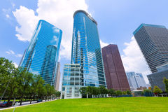 Houston-Skylinestadtbild in Texas US stockbilder