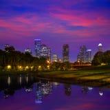 Houston solnedgånghorisont från Texas USA Royaltyfri Foto