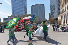 Houston St. Patrick's Parade. The Houston St. Patrick's Parade has always been a FREE event.  The two-hour parade has historically been one of the largest in the Stock Photography