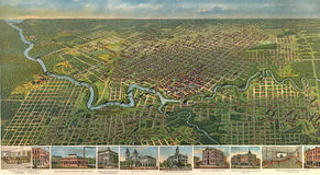 Houston-Stadtplan 1891 Stockfotografie