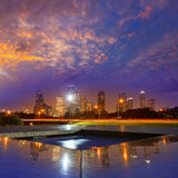 Houston sunset skyline from Texas US. Houston sunset skyline from Memorial park at Texas US Royalty Free Stock Photography