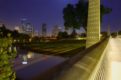 Houston sunset skyline from Texas US. Houston sunset skyline from Memorial park at Texas US Royalty Free Stock Images