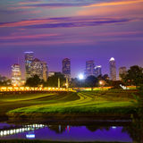 Houston sunset skyline from Texas US. Houston sunset skyline from Memorial park at Texas US Stock Photos