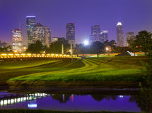 Houston sunset skyline from Texas US. Houston sunset skyline from Memorial park at Texas US Royalty Free Stock Image