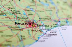 Houston sur la carte Photo libre de droits
