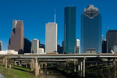 Houston Texas. View of the downtown area of Houston from a Buffalo Bayou park Royalty Free Stock Images