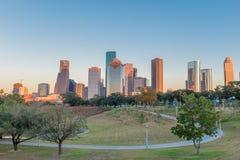 Houston, Texas do centro no por do sol Foto de Stock Royalty Free