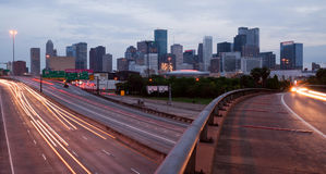 Houston Texas Downtown City Skyline Urban Landscape Highway Over Stock Photo