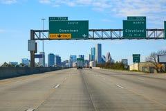 Houston texas downtown road sign US Stock Photo