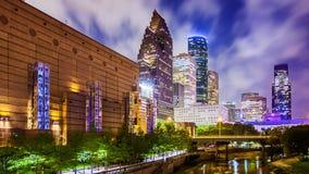 Houston, Texas Downtown Skyline na noite fotografia de stock royalty free