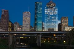 Houston Texas at Dusk. View of the downtown area of Houston from a Buffalo Bayou park at dusk Royalty Free Stock Photos
