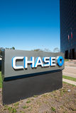 HOUSTON, TEXAS - FEBRUARI 2016: De tribune van JPMorgan Chase Bank met t Stock Foto's