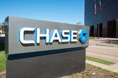 JPMorgan Chase Bank stand with flags, Houston, Texas Royalty Free Stock Image