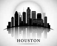 Houston Texas-het silhouet van de horizonstad Stock Afbeelding