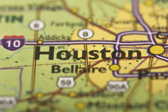 Houston, Texas on map Stock Photography