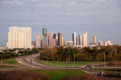 Houston Texas Mid town skyline. Cloudy sky near sunset Stock Photo