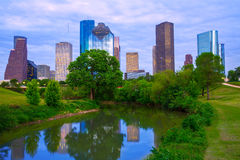 Houston Texas modern skyline from park river Stock Photos