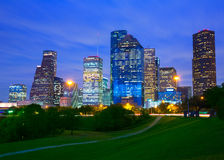 Houston Texas modern skyline at sunset twilight from park Stock Images