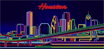 Houston Texas neon sign skyline. By night vector illustration