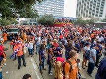 HOUSTON TEXAS - NOVEMBER 3rd 2017 - världsmästare Houston Astros firar deras seger över LAskojarna Fotografering för Bildbyråer