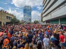 HOUSTON TEXAS - NOVEMBER 3rd 2017 - världsmästare Houston Astros firar deras seger över LAskojarna Royaltyfri Bild