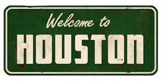 Houston Texas Road Sign Grunge. Welcome to Houston TX highway freeway sign old vintage antique rustic stock photos