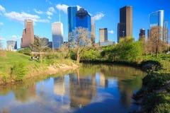 Houston Texas Skyline com arranha-céus modernos e opinião de céu azul Imagem de Stock