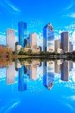 Houston Texas Skyline con i grattacieli moderni e la vista del cielo blu Immagini Stock Libere da Diritti
