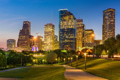 Houston Texas Skyline en Park Stock Afbeelding