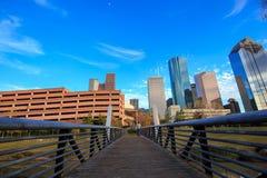 Houston Texas Skyline med moderna skyskrapor och sikt för blå himmel Royaltyfria Bilder