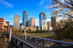 Houston Texas Skyline with modern skyscrapers and blue sky view Stock Photo