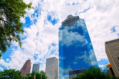 Houston Texas Skyline with skyscapers and blue sky Stock Photos