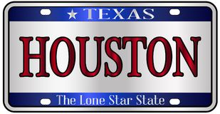 Houston Texas License Plate. Houston Texas state license plate mockup spoof over a white background Royalty Free Stock Photography