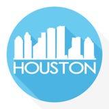 Houston Texas United States Of America USA Round Icon Vector Art Flat Shadow Design Skyline City Silhouette Template Logo stock illustration